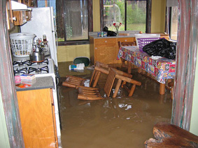 Flood damaged home